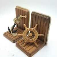 Nautical Maritime Book Ends Wood Ship Wheel Metal Anchor on Rope Bookends