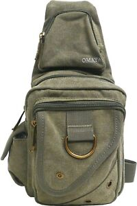 Premium Canvas Crossbody Shoulder Bag Chest Bag Camping Hiking Backpack
