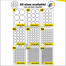 Coloured round circular A4 Self Adhesive labels in red, blue, green or yellow
