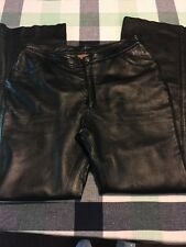 Harley Davidson Women's Polyester Lined Leather Pants Jeans Style Black 12 E54