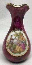 Miniature Limoges France Red/PurpleCourting Couple Porcelain ~4� Mint Condition