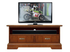 Low tv stand soundbar shelf, living room small tv unit, wooden cabinet 2 drawers