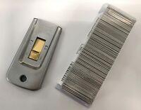 100 x Single Edge Razor Window Scraper Blades Heavy Duty + Made In USA Holder