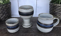 Otagiri HORIZON Vintage Stoneware Wine Goblet Sake Cup & Mustache Mug