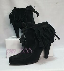 GUCCI Black Suede Ankle Boots Size 37 1/2