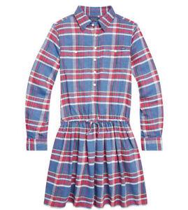 NWT New Ralph Lauren Polo Girls Plaid Cotton Twill Dress School Church Sz 7 $59