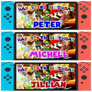 2 Personalized Super Mario Brothers Birthday Banner Game Console Children Party