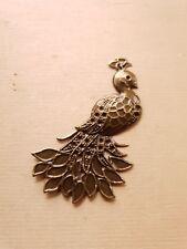 Ganz filigraner großer Schmuckanhänger Pfau ♥ Vogel Deko Charms Vintage Bronze