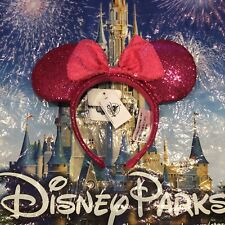 Disney Parks Minnie Mouse Ears Red Sequin Headband Pink sequins Bow NWT
