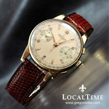 "1940's VULCAIN Swiss ""Grand Prix"" Vintage Chronograph 18k Watch Valjoux Cal. 22"