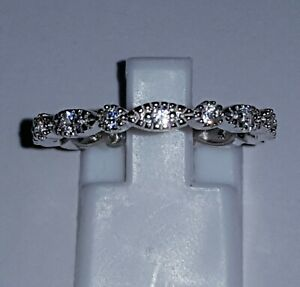 925 STERLING SILVER RHODIUM PLATED WEDDING ETERNITY SAPPHIRE FULL RING BAND