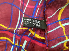 """Pocket Square Silk Scarf Multi Color Red Blue Yellow 12"""" x 12"""" Italy NWOT"""