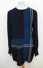HOBBS Ladies Navy Blue Multi Silk Long Sleeved Estrella Tunic Dress UK8 NEW