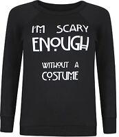 New Ladies Long Sleeve Danger Skull Scary Print Sweatshirt Jumper Tops 8-22