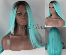 Women Ombre Light Blue Long Straight Lace Front Wig Synthetic Cosplay Hair Wigs