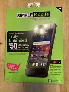 "New Simple Mobile ZTE ZFIVE G Z557BL 16GB 5"" 5MP Android Smartphone"