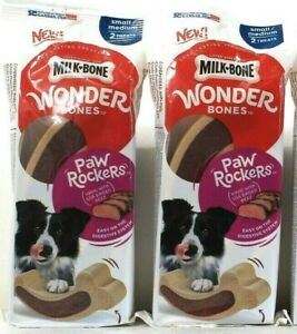 2 Packs Milk Bone Wonder Bones Paw Rockers Raised Beef Small Med 2 Count Treats