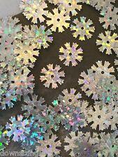 Sequins Snowflake Star Flower 10mm Bright Silver Laser Hologram Read Description