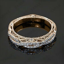 0.50 Ct Diamond 10k Rose Gold Vintage Wedding Band Ring for Women's