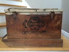 Vintage Ice Fishing Sled Wood Box Clark Brothers Bolt Co. Mildale Conn.