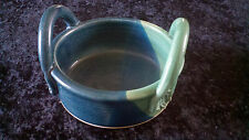 Very Nice Hand Crafted Art Pottery Bowl with Handles, Signed, Green and Blue