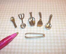 Miniature Silver Metal KITCHEN Utensils, SET of 6: DOLLHOUSE 1/12 Scale