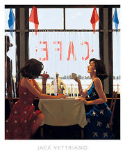 CAFE DAYS ART PRINT BY JACK VETTRIANO two women having coffee at lunch poster