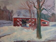 30x40 SIGNED ORIGINAL OIL PAINTING OF SNOWY BARN - CANVAS GALLERY WRAP