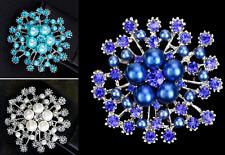 TURQUOISE, ROYAL BLUE OR CREAM FAUX PEARL DIAMANTE RHINESTONE CRYSTAL BROOCH PIN