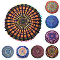 Indian Mandala Floor Polyester Round Bohemian Throw Cushion Cover Pillow Cases