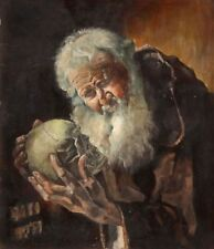 Painting of Monk Holding Skull Oil on Board Signed