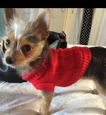 Chihuahua (xs) de noël pull en mailles rouge pet dog clothes knitted chien pull