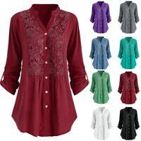 Women Casual Button Lace V Neck Long Sleeve Shirt Plus Size Tunic Tops Blouse LB