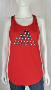 Adidas Tank Top Size Small S Red Logo Racerback ColorBlock America Stars NWT