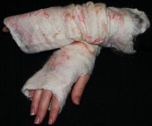 Hand Made Felt Merino Wool Cobweb Natural Fingerless Gloves / Gauntlets  Mittens