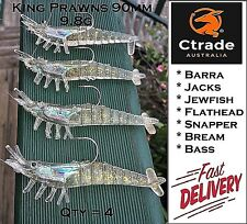 4x Rigged Prawn Shrimp Fishing Lure Soft Plastic Baits Lure Flathead Barra Jew