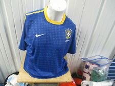 VINTAGE NIKE BRAZIL NATIONAL SOCCER FOOTBALL TEAM BLUE SEWN JERSEY 2010/11 KIT
