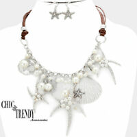 HIGH END SEA LIFE, SHELL,STARFISH VERY CHUNKY NECKLACE JEWELRY SET CHIC & TRENDY