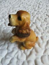 "Vintage 3"" Dog Brown Tan Small Ceramic Figurine Animal Pet Japan Cocker Spaniel"