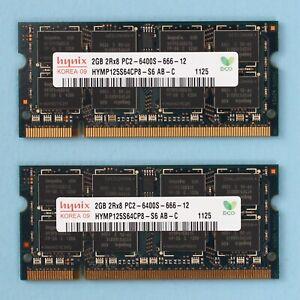 4GB (2x 2GB) DDR2 PC2 6400 800Mhz Hynix 204 Pin SoDimm RAM Laptop NoteBook