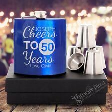 Engraved 7oz Personalised Blue Birthday Hip Flask Gift Set 18th 21st 50th Aus