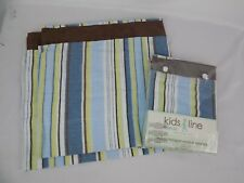 LOT OF 2 WINDOW VALANCE MOSAIC TRANSPORT 60 x 14 Brown Blue Yellow Stripe NEW