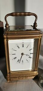 SMALL ANTIQUE ENGLISH  DROCOURT CHIMING  CARRIAGE CLOCK, W. O. WITH KEY AND CASE