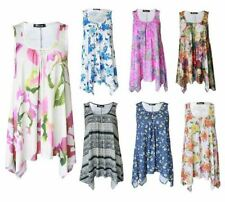 Viscose Floral Regular Size Sleeveless T-Shirts for Women