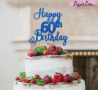 LissieLou Happy 60th Birthday Pretty Cake Topper Glitter Card Made in the UK