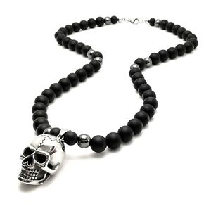 Herren Halskette totenkopf Onyx Edelstein skull Necklace Rosenkranz Biker neu
