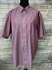 LL Bean Shirt size XL Red Button Front Short Sleeve Collar Mens