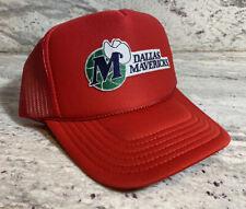 DALLAS MAVERICKS RED CAP HAT 5 PANEL HIGH CROWN TRUCKER SNAPBACK VINTAGE