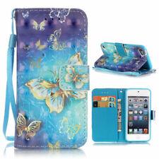 Wallet Case 3D Motiv Muster Tasche Hülle Gold Butterfly für Apple iPod Touch 5 6