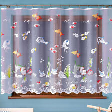 Children's Net Curtain Ocean Sea life Ready Made SOLD BY THE METRE Slot Top
